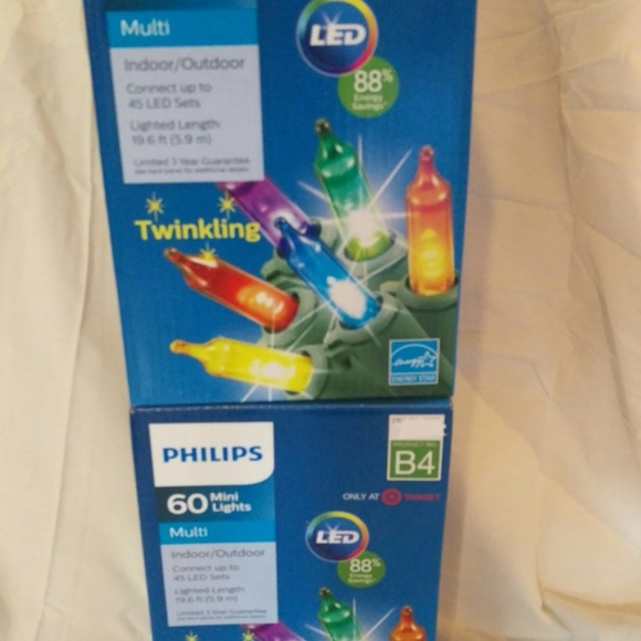 Philips 60 LED Multi-color Mini Lights Green Wire Indoor//Outdoor NEW